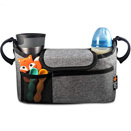 Buggy Organiser for Stroller, Pram & Pushchair - Keep All Your Essentials at Your Fingertips, Pram Handlebar Bag with Cup Holders. Universal Fit - Grey