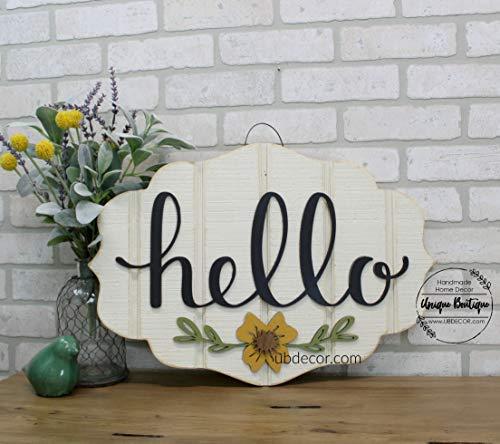 Ced454sy Gift Hallo Teken voor Voordeur Moderne Deur Krans Gedrukt Hanging Houten Teken Voordeur Decor Mosterd Bloem Welkom Teken Bedrukte Lettering 22x15