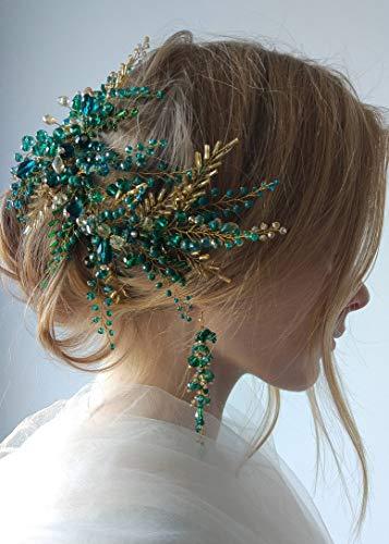 Kercisbeauty - Diadema de cuentas verdes con pendientes dorados para novias, accesorio para el pelo, vintage, joyería de boda hecha a mano