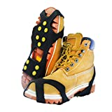 TENSPAL Traction Ice Cleats Crampons Ice Snow Grips for Hiking Walking Climbing Fishing Jogging with Anti-Slip Microspikes Stainless Steel Spikes