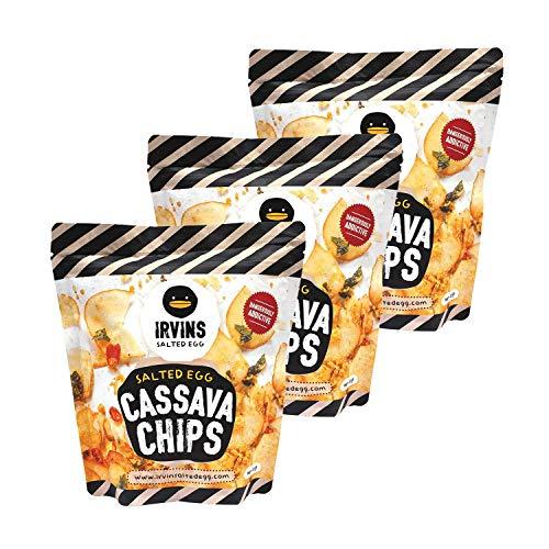 IRVINS Salted Egg Cassava Chips Crisps 105g (Pack of 3)