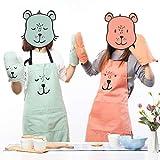 Lindong Süß Kartoon Schürze mit Tasche für Frauen Kinder Wasserdicht Baumwolle Leinen Küchenschürze Latzschürze Kochschürze Kinder Grün - 3