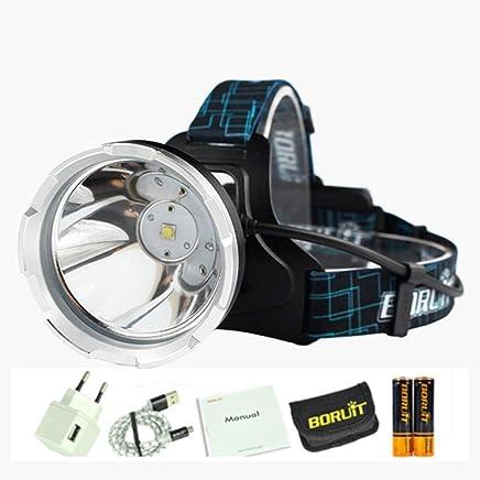 DJSkd Outdoor Waterproof Fishing Headlight Head-Mounted USB Charging Headlights Long-Range Flashlight