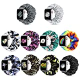 Runostrich Compatible with Apple Watch Band Scrunchie for iwatch Straps 44mm 42mm, Scrunchy Wristband Women Bracelets Replacement for Apple Watch SE Series 6 5 4 3 2 1(O+P+V+Z+A+E+G+I+L+N, 42mm/44mm L)