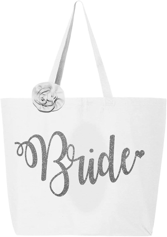 Classy Bride Glitter Bride Tote Bag  White and Silver