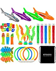 MTOUOCK 35PCS Diving Pool Toys Set Includes Diving Sticks, Diving Ring, Gems, Diving Fish, Diving Shark, Diving Octopus, Seaweeds and a Storage Bag, Swimming Pool Toys for Kids, Teens, Adults and Pets