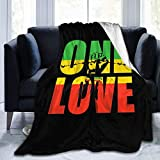 Microfleece Throw Blanket Reggae Rasta One Love Green Yellow Red Throw Blanket for Couch All Seasons Suitable Fuzzy Bed Blankets Printed