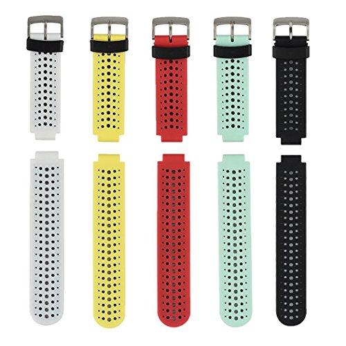 Correa de reloj de silicona suave para Garmin Forerunner 235 de Fit-power, repuesto ideal para Garmin Forerunner 235, 220, 230, 620, 630 y 735, Pack of 5