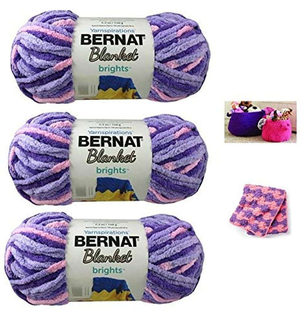 Bernat Blanket Brights Yarn (5.3 oz) - 3 Pack Bundle with 2 Patterns - Pansy Purple