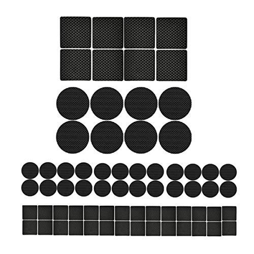 pies antideslizantes para muebles, Almohadilla Antideslizante para Muebles, pies de goma autoadhesivos Antideslizante, para patas de sillones, redondos, cuadrados, 52 piezas, negro