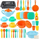 LOYO Pretend Play Kitchen Dish Set - 41 Piece Kids Kitchen Toys Accessories Cooking Dishes Tea Play Set for 2 3 4 5 6 Years Old Toddlers Girls Boys