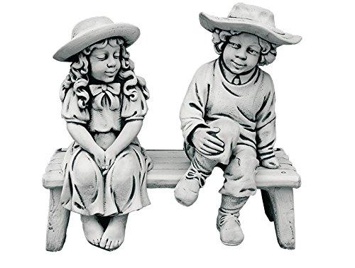 CATART Figura Decorativa Banco con niños en hormigón-Piedra para el jardín Exterior 80X80cm.