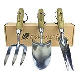 Oakenleaf 3-teiliges Gartenwerkzeug-Set, extra groß, Edelstahl mit Holzgriff, Kelle und Multitool