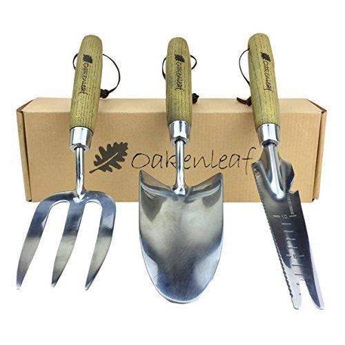 Oakenleaf 3-teiliges Gartengeräte-Set extra groß aus Edelstahl mit Holzgriff, Kelle, Gabel und Multitool