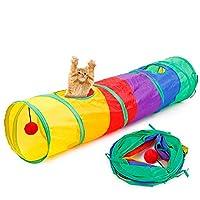 Tiiyar 猫トンネル 猫玩具 猫おもちゃ キャットトンネル 折り畳み式 115cm 長い