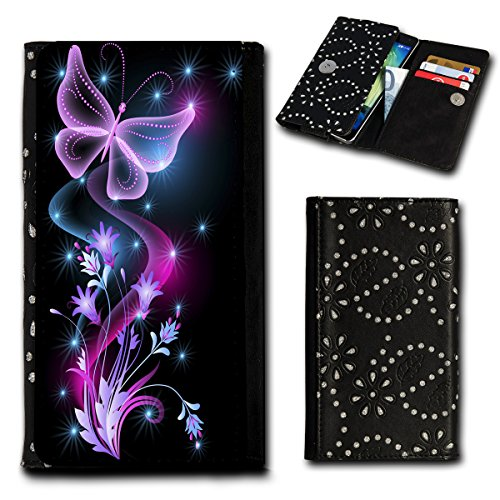 Strass Book Style Flip Handy Tasche Case Schutz Hülle Foto Schale Motiv Etui für Mobistel Cynus F9 - Flip SU2 Design6