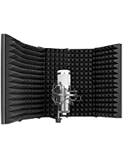 Neewer Pro Microphone Isolation Shield, 5-Panel Pop Filter, High Density Absorbent Foam Front & Vented Metal Back Plate, Compatible with Blue Yeti and Any Condenser Microphone Recording Equipment