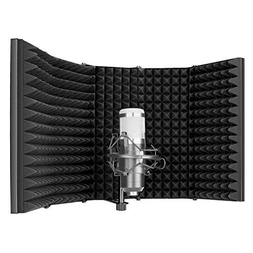 Neewer Pro Protector Aislamiento de Micrófono Filtro Pop de 5 Paneles Frente de Espuma Absorbente de Alta Densidad y Placa Posterior Metálica Ventilada Compatible con Blue Yeti