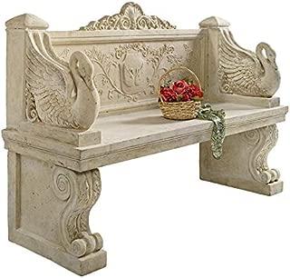Design Toscano NE90080 Neoclassical Swan Outdoor Garden Bench Seat, 5 Foot, Ancient Ivory