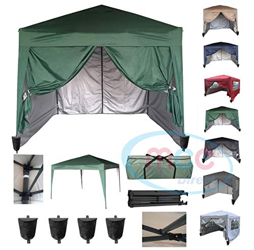 MCC@home 3x3m Waterproof Pop-up Gazebo with Silver Protective Layer Marquee Canopy WS… (Green)
