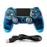 HALASHAO Controlador de PS4 Controller para Mando inalámbrico PS4 Controller Gamepad Joystick para Playstation 4,Transparent Blue