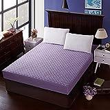 XGguo Protector de colchón - Protector de colchón antialérgico Sábana de Hotel de una Sola Pieza de algodón Engrosamiento-púrpura_100 * 200cm