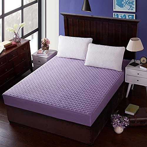 XGguo Protector de colchón - Protector de colchón antialérgico Sábana de Hotel de una Sola Pieza de algodón espesante-púrpura_180 * 220cm