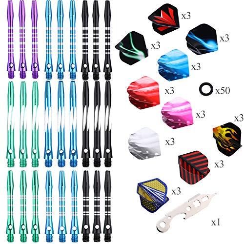 sanfeng Aluminium Dartpfeil-Schäfte Medium Short 45mm / 38mm - 9 Sätze 27 Stück Dart Shafts Zubehör + 30 Flüge + 50 Gummi O-Ringe + 1 Dart Tool für Dartpfeile, 2BA