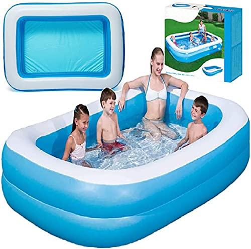Retoo Aufblasbare Pool 200 x 150 x 51 cm, Rechteckig Großer Familienpool, Family Pool für Garten und Outdoor, Schwimmbecken für Kinder, Babys, Jugendliche und Erwachsene, Rectangular Kinderpool, Blau