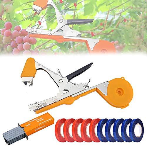 Bindmachine voor planten, Ta-pener Tool Garden Plant Tape Tool met 10 rollen tape en 1 doos nietjes voor groente, druif (Oranje)