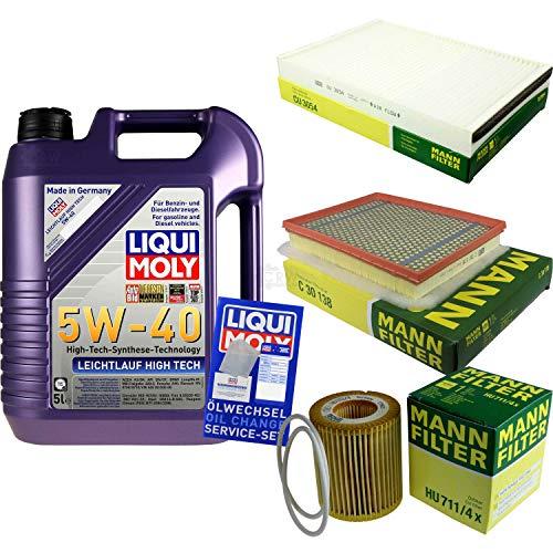 Filter Set Inspektionspaket 5 Liter Liqui Moly Motoröl Leichtlauf High Tech 5W-40 MANN-FILTER Innenraumfilter Luftfilter Ölfilter