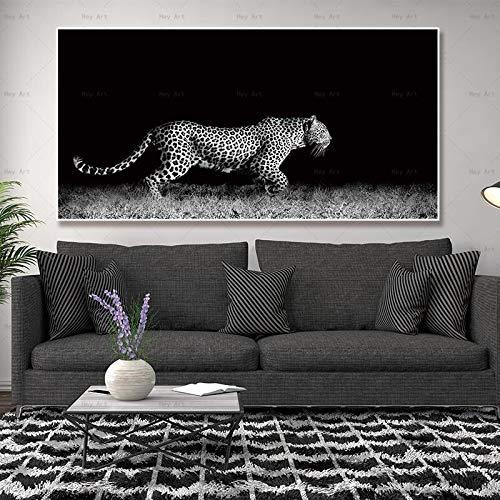 vhidfsjgdsfik Leopard Typografisches Plakat der abstrakten Kunst Gangdekoration des Wohnzimmers des Wohnzimmers 40x80cm Rahmenlos