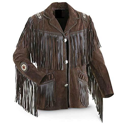 Vipconnection Western Cowboy - Chaqueta de Piel de Ante con Flecos para Hombre - Marrón - L Pecho 107/112 cm