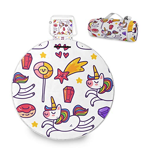 Manta grande de picnic al aire libre – Unicorn Meteor Rainbow Candy Picnic Mat para la familia Camping Beach Park, mango redondo de 59 pulgadas