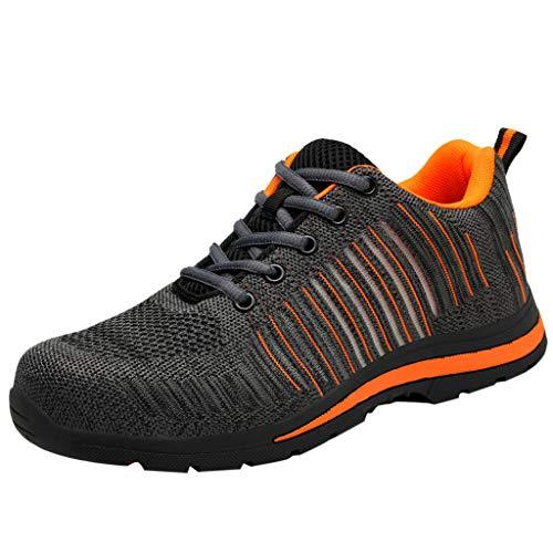Zapatos de Seguridad para Hombre con Puntera de Acero Zapatillas de Seguridad Trabajo Calzado de Industrial y Deportiva Ligeros Comodos Transpirable Antideslizante(naranja,42) 🔥