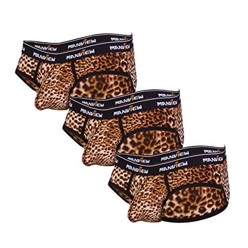 Herren Slip Leoparden Animal Print Muster 3 Pack Unterwäsche Dessous Erotik Reizwäsche für Männer Unterhose Unterhosen Mikrofaser Retro Brief Weichbund Shorts Boxershorts Slips lustig (S/M)