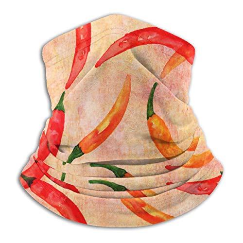 Calentador de Cuello de Microfibra Unisex Acuarela Chiles Rojos y Amarillos Pasamontañas En Colores Pastel Sombreros Bufanda para Polvo Viento Protección Solar