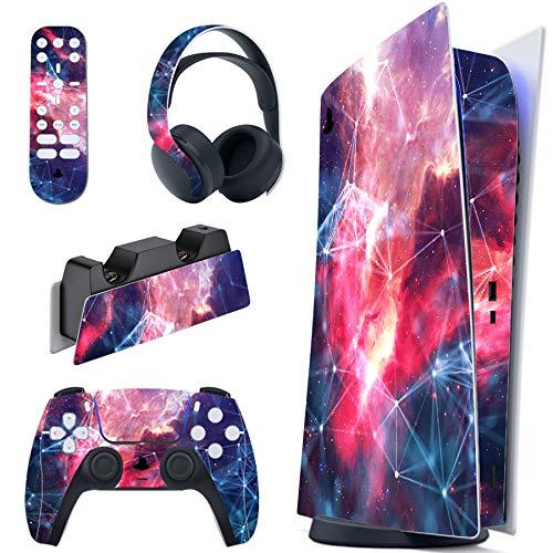 PlayVital Skin für PS5 Konsole Digital Edition, PS5 Aufkleber Vinyl-Skin Stickers Schutzfolie Folie für Playstation 5, DualSense Controller, Ladestation, Headset, Medienfernbedienung-Galaxy Space