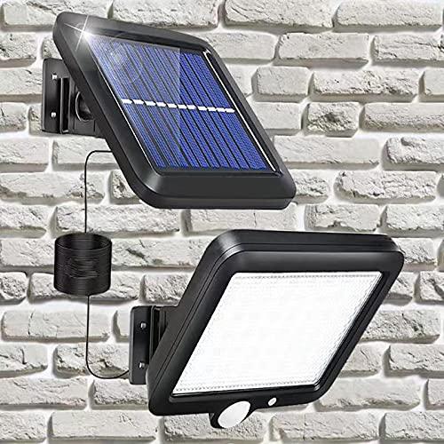 Lámparas solares para exterior,56 LED,lámpara solar de pared, resistente al agua, detector de movimiento,ángulo de iluminación de 120°,cable de 5 metros,lámpara solar de pared para jardín,garaje