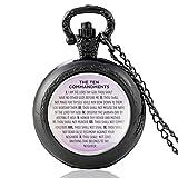 ZDANG Clásico Los Diez Mandamientos Diseño Bronce Vintage Reloj de Bolsillo de Cuarzo Hombres Mujeres Reloj de Horas Colganteun Regalo para niño