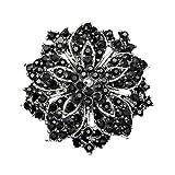 AchidistviQ Cluster Strass Rond Blossom Fleur Cristal Plaqué Argent Broche Broches