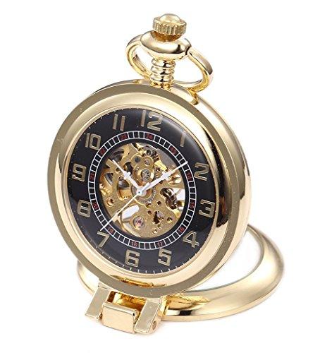 Unendlich Recht-Winkel Retro Handaufzug Mechanische Taschenuhr kleine Standuhr Hohle Skelett Kettenuhr Pullover Halskette Gold