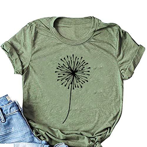 Lialbert Shirt Damen, Kurzarm Pusteblume Bedrucktes T-Shirts O Ausschnitt Grafik Casual Tops Tee Sommer Locker Top Tunika Bluse Oberteile Mädchen