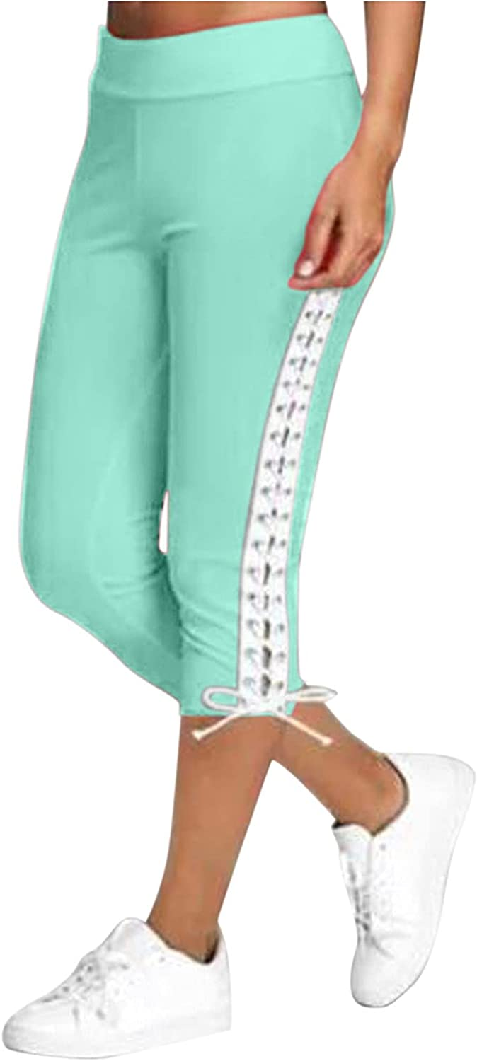 High Waisted Capri Leggings for Women, Lace Up Casual Capris Tummy Control Exercise Crop Pants for Running Yoga Workout