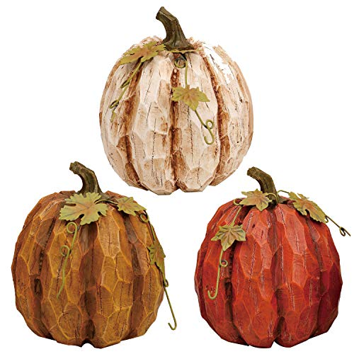 Holiday Designs Rustic Fall Small Pumpkin Trio - Set of 3 - Thanksgiving Decoration or Table Centerpiece Decor