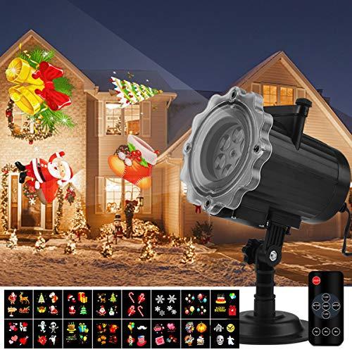 Qomolo Luces Proyector Navidad LED, Lámpara de Proyección de Navidad con 16 Diapositivas y Control Remoto, Proyección Interior y Exterior Decoración Para Navidad Fiesta,Boda,Festival,Valentín