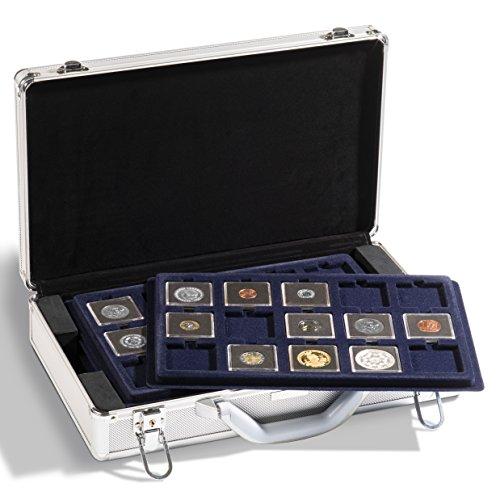 Leuchtturm 343225 Münzkoffer Cargo L 6   Für 90 Münzen in QUADRUM-Kapseln oder Münzrähmchen 50 x 50 mm   Inkl. 6 Tableaus   Format: 407 x 95 x 245 mm