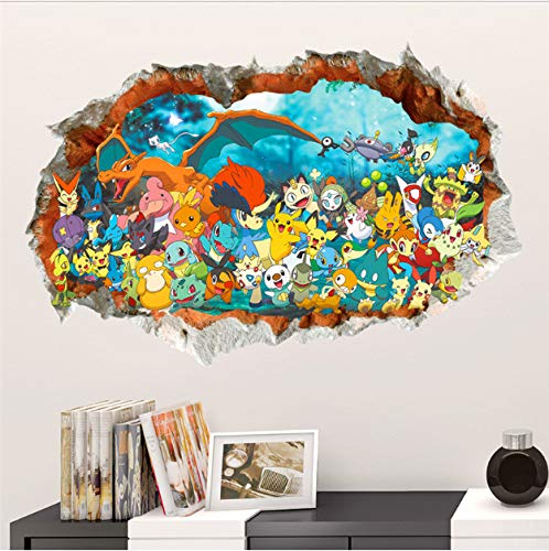 asd137588 Wandtattoo Cartoon 3D Effekt Rote Pikachu Pet Elfen Durch Wandaufkleber Für Kinderzimmer DIY Wandkunst Aufkleber Dekor Pokemon Gehen Spiel Poster 60cm*90cm