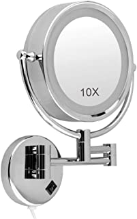 Makeup Mirror, 8.5'' Bathroom Mirror Wall Mounted, LED Illuminated Mirror 10X Magnifying, Two Swivel Surface Round Extendable and Chrome Finished, 360° Free Rotation Shaving Mirrors