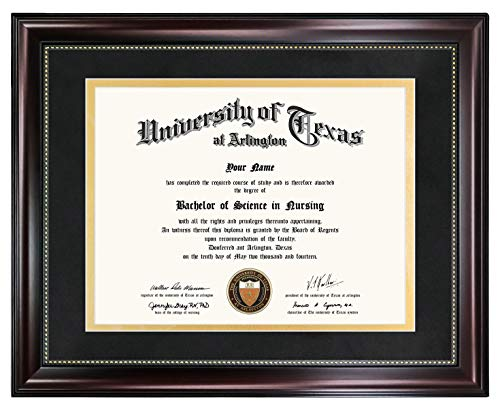 GraduationMall 11x14 Diploma Frame for 8.5x11 Document Certificate, Professional Wooden Look with Black Over Gold Mat, Real Glass, Mahogany with Gold Beading